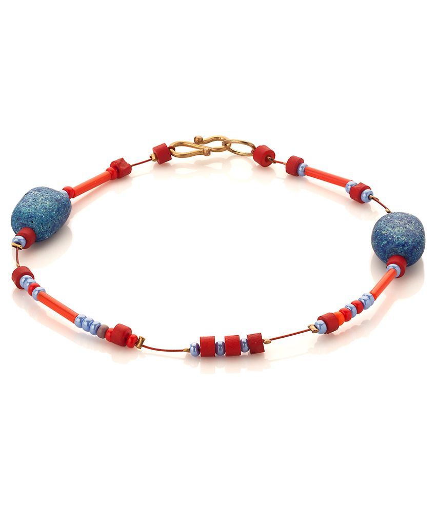 Voylla Bead Anklet For One Foot with Red; light Blue; Brown Beads