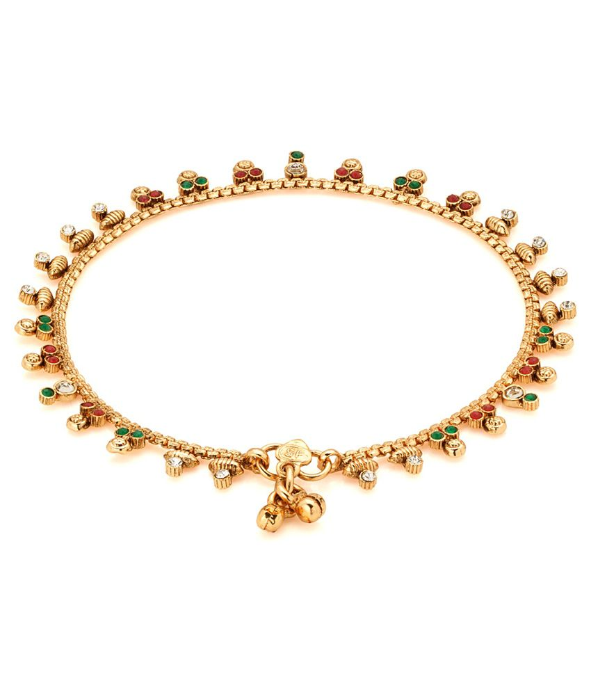 Voylla Enchanting Gold Plated Polki Studded Anklet Pair