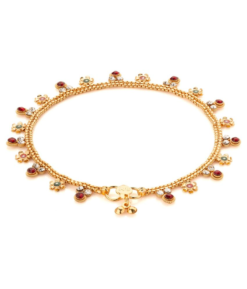 Voylla Gold Toned Floral Anklets With Cz; Enamel Work