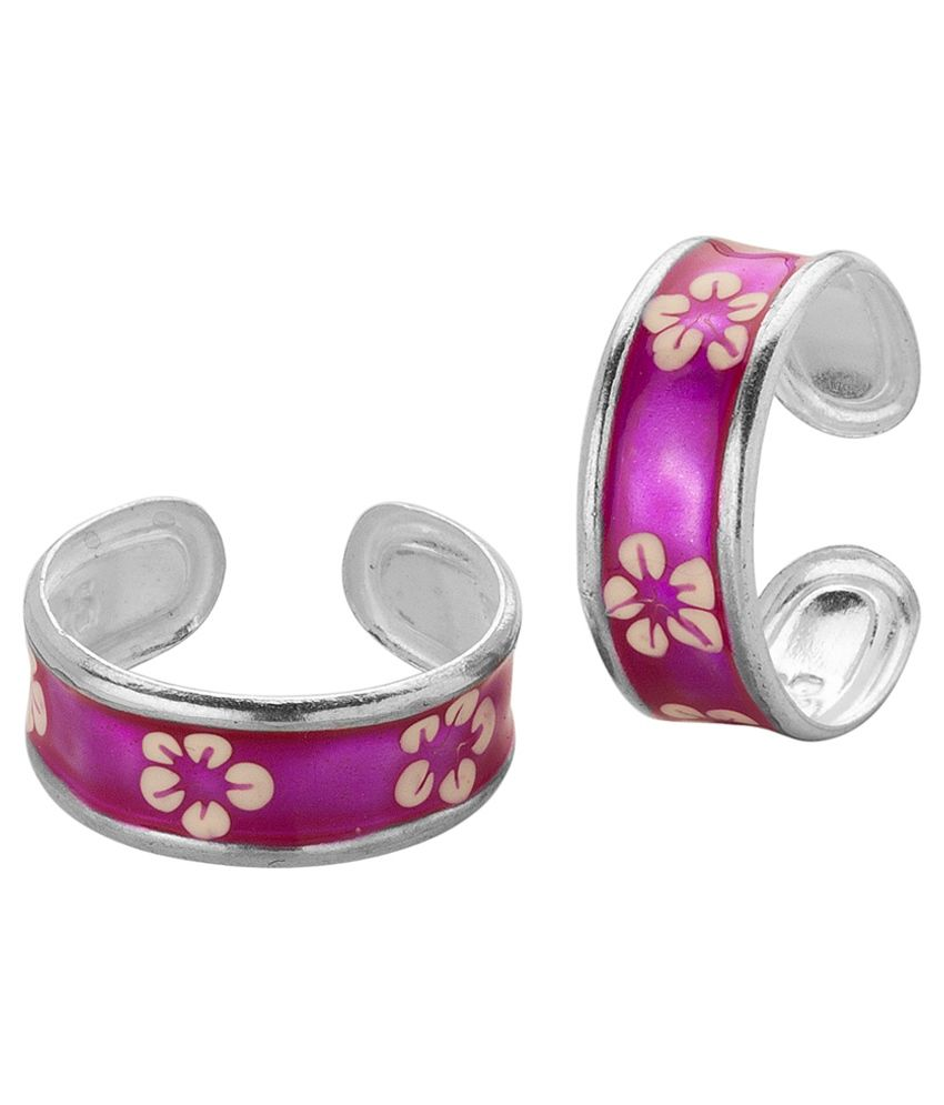 Voylla Toe Rings with Soothing Blue Enamel; White Flower in Sterling Silver