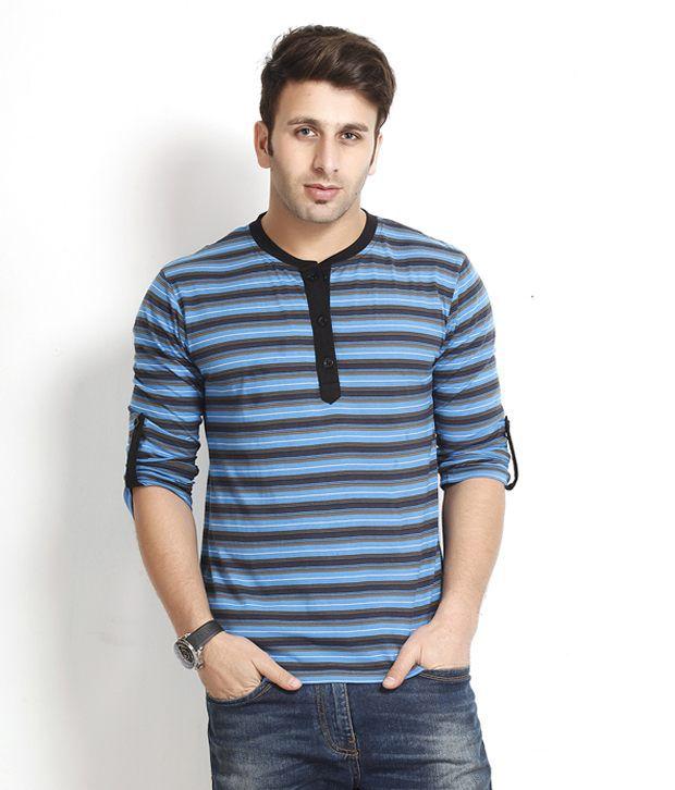 Gritstones Vivacious Blue Striped Henley T Shirt