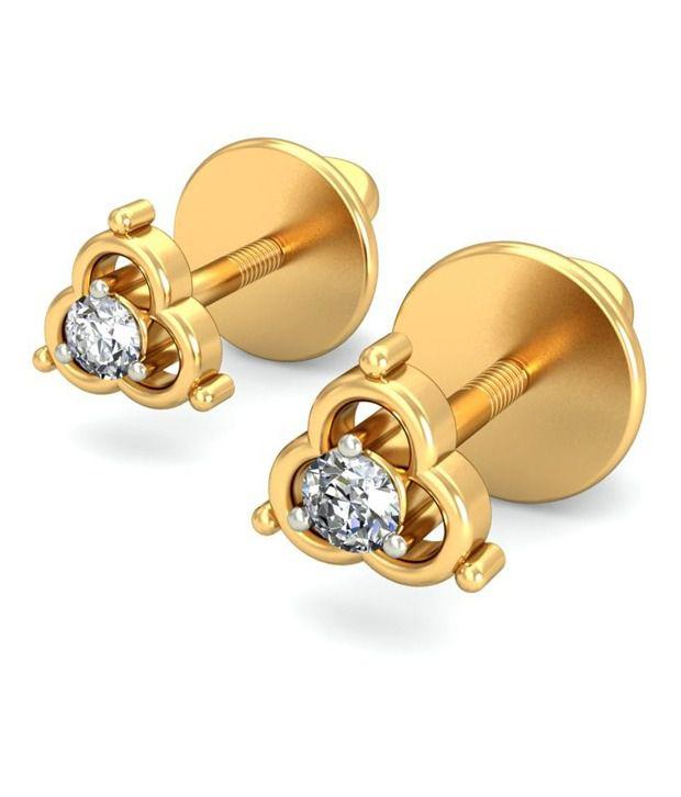 14Kt Hallmark Gold SI/IJ  Certified Diamonds Iridescent  EARRING By BELLE