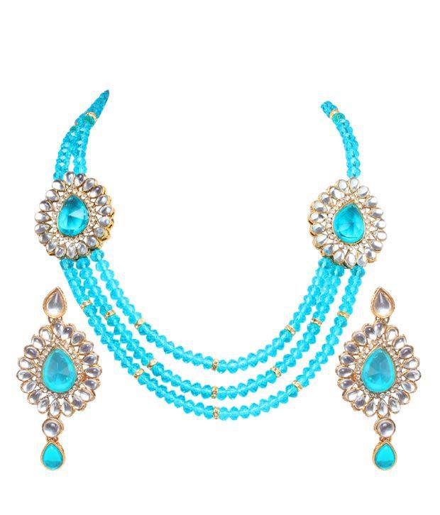 Adhira Charming Turquoise Stones & Beads Necklace Set