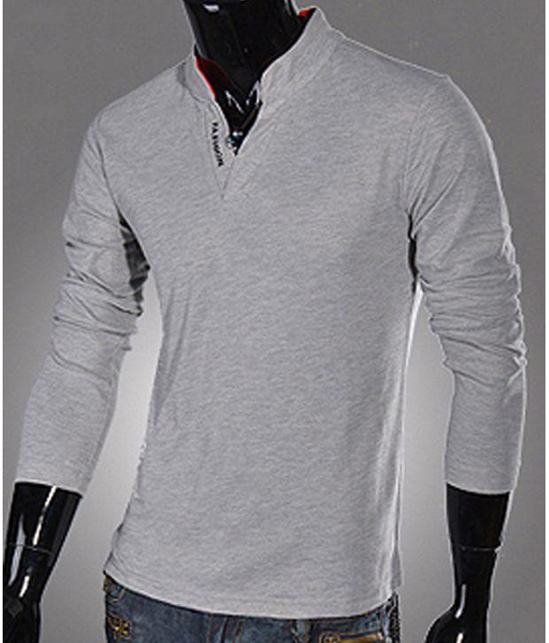 a63e10ba6 Fashion Street Grey Full Sleeves Men - Collared T-shirt - Buy Fashion  Street Grey Full Sleeves Men - Collared T-shirt Online at Low Price -  Snapdeal.com