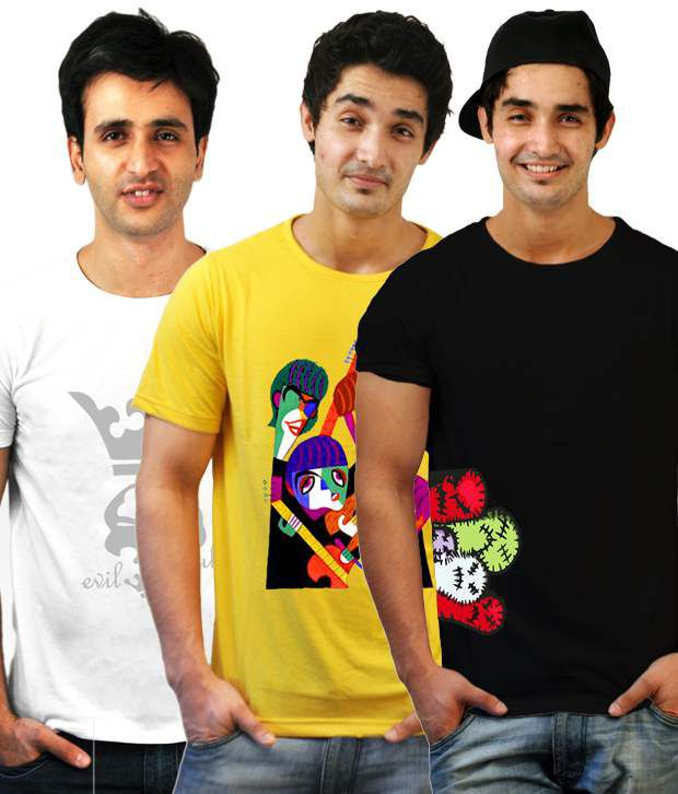 Incynk Pack Of 3 White-Black-Yellow Printed T-Shirts