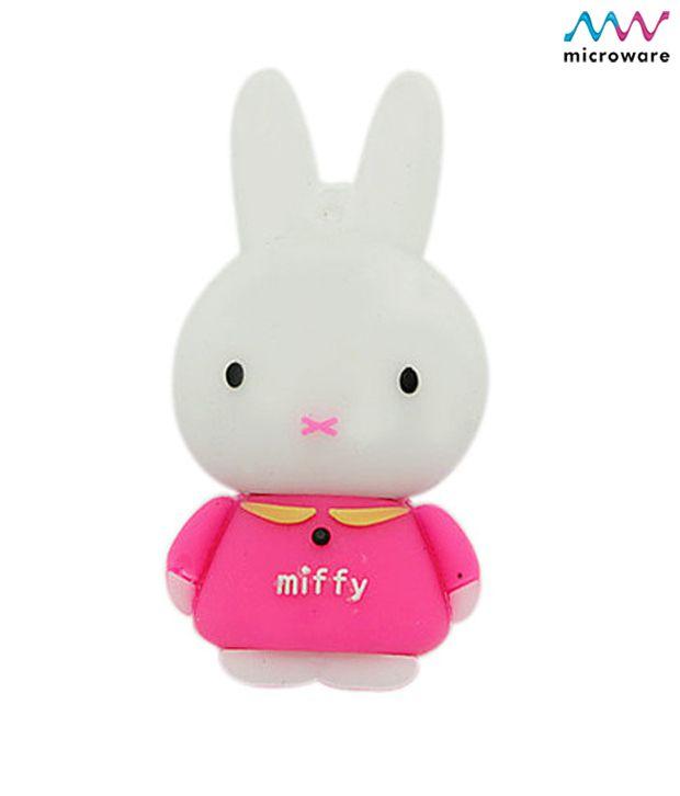 Microware Miffy Rabbit Shape Designer 4 GB Pendrive (Pink)