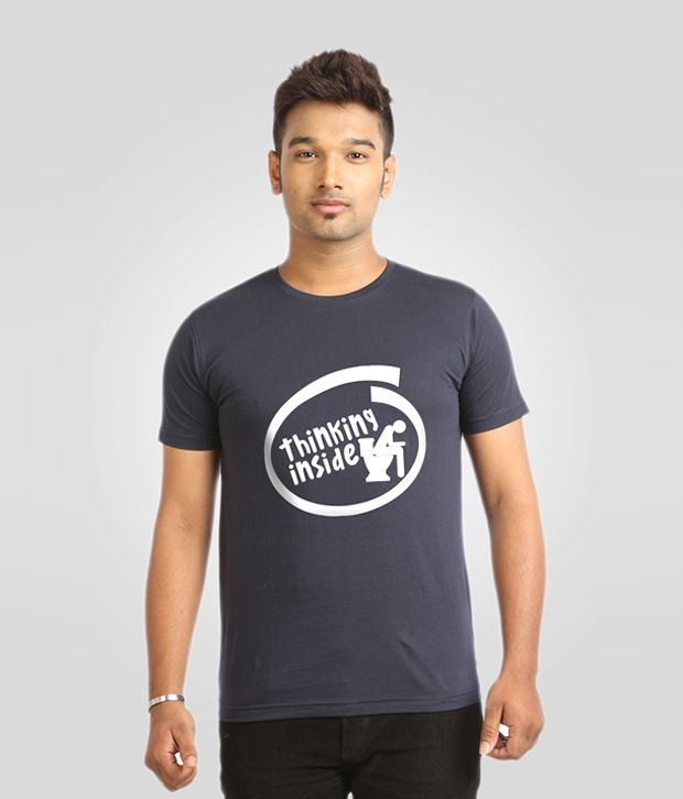 Campus Sutra Blue Thinking Inside T Shirt