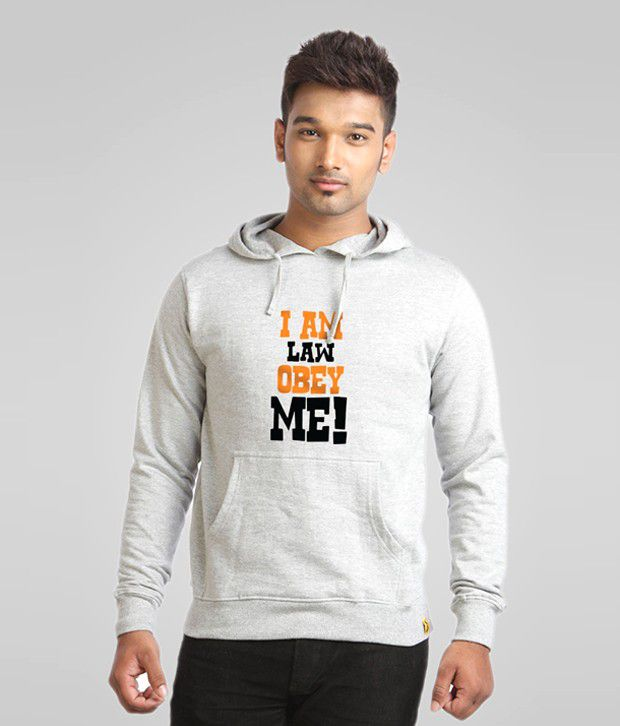 Campus Sutra Gray I am Law Obey Me Sweatshirt