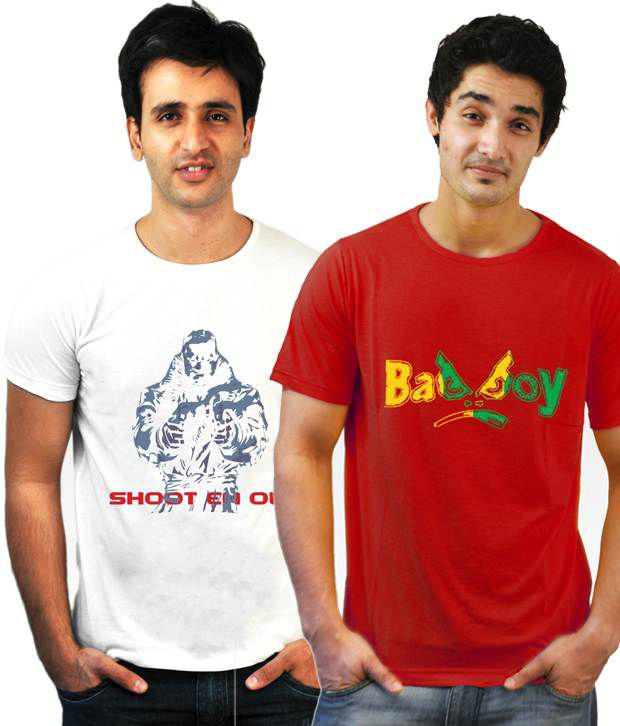 Incynk Combo of 2 Red-White Cotton T Shirts