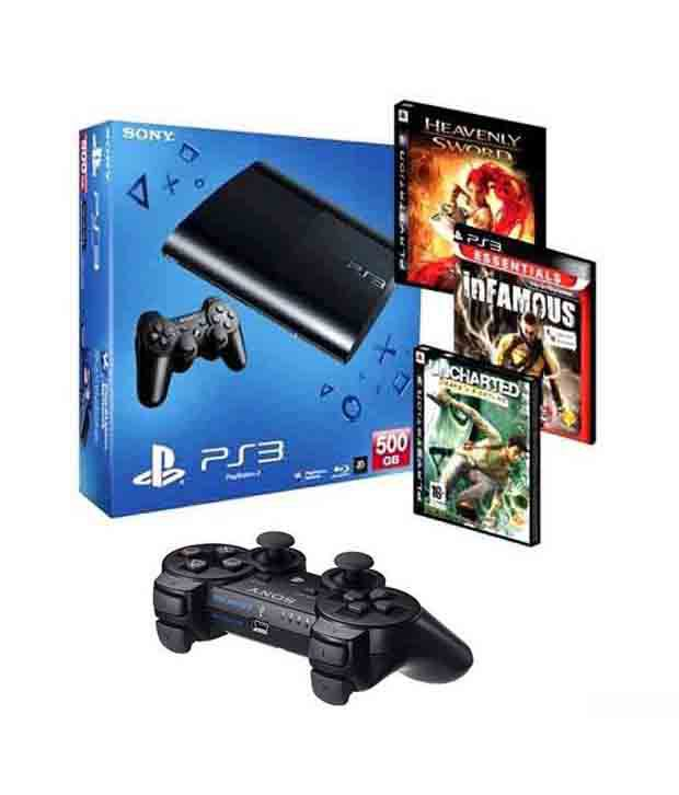 Sony Playstation 3 (500GB) with 3 games & 1 extra Sony (Dual Shock 3) Wireless Controller