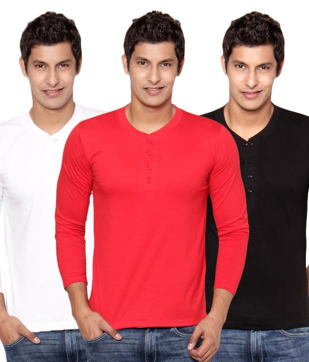 Phoenix Red-Black-White Pack Of 3 Henley T Shirts