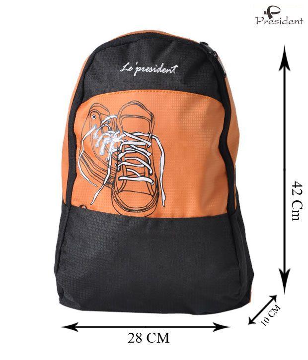 President Orange & Black Shoe Print Backpack