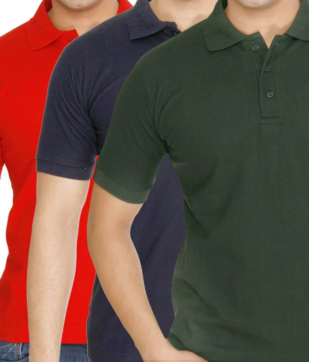 Weardo Red-Blue-Green Pack Of 3 Polo T-Shirts