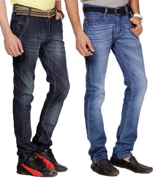 Uomos Exclusive Pack Of 2 Dark Blue-Blue Faded Jeans
