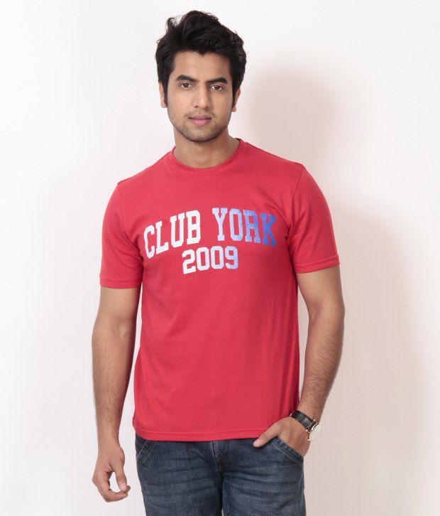 Club York Cool Red Printed T Shirt