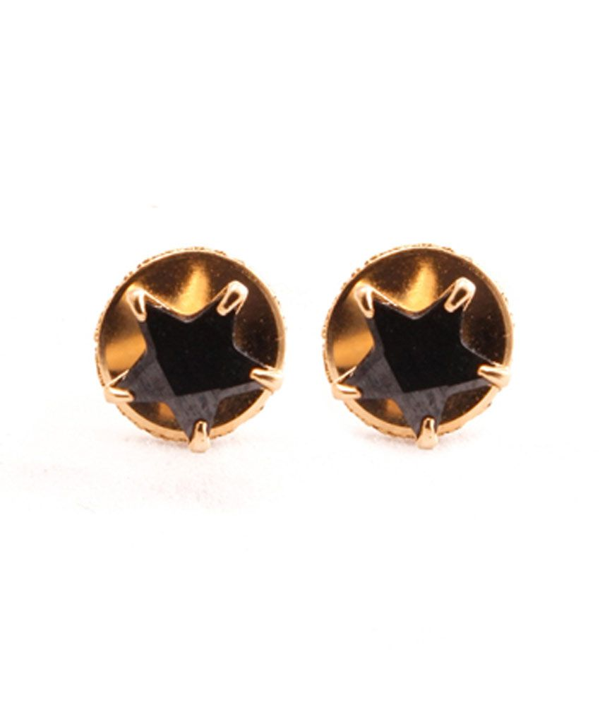 VaRaaGk Star Shapped Black 5mm Size Stud For Women