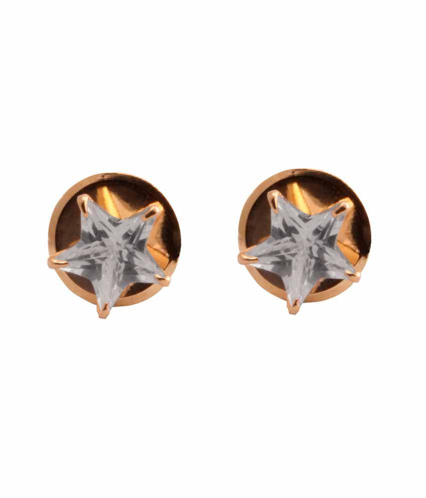 VaRaaGk Star Shapped White 5mm Size Stud For Women