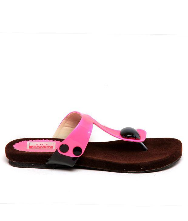 Do Bhai-Shoebazaar Pink And Brown Flats