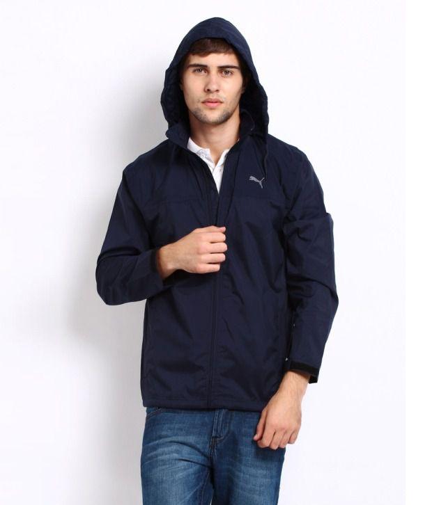 Puma Navy Blue Logo Printed Zippered Hooded Sweatshirt