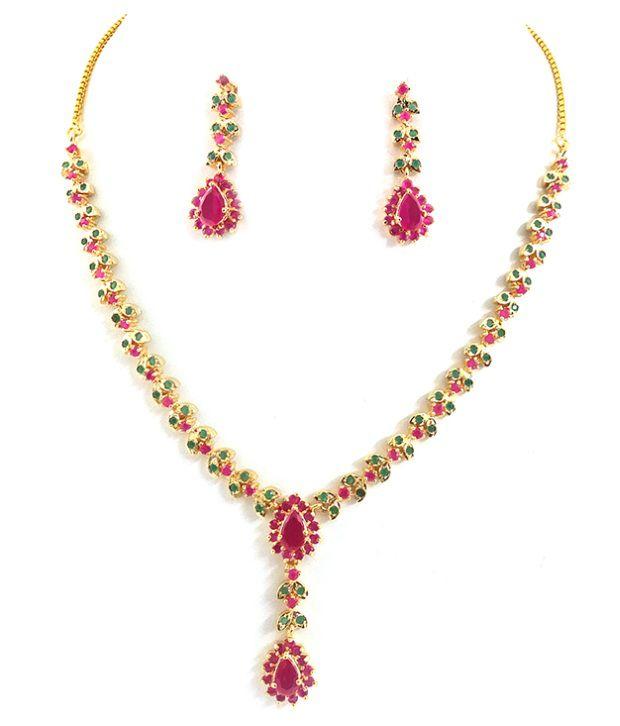 0a247941ba40a Beautiful Ruby Emerald Necklace Set - Buy Beautiful Ruby Emerald ...