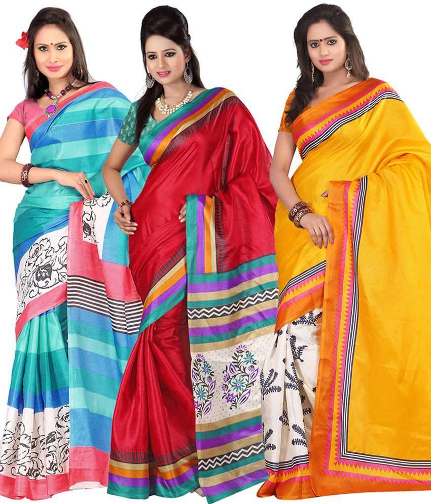 f2d0fb8487 Kajal Awesome Blue, Red & Yellow Bhagalpuri Silk Saree Combo - Set Of 3 -  Buy Kajal Awesome Blue, Red & Yellow Bhagalpuri Silk Saree Combo - Set Of 3  Online ...