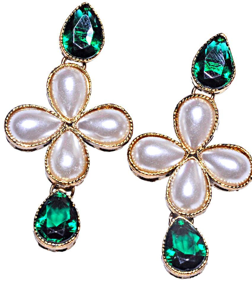 Maayra Green White Ethnic Wedding Festival Dangler Earrings