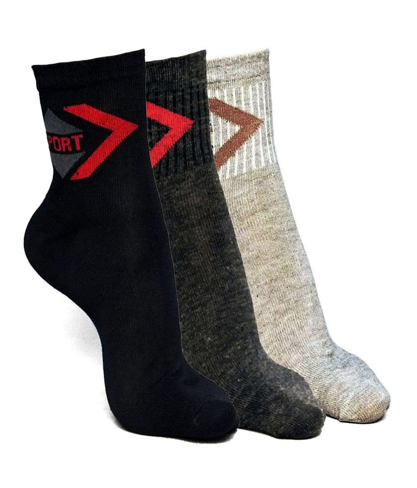 Sport Comfortable Socks - 3 Pair Pack (Brown,Grey,Black)