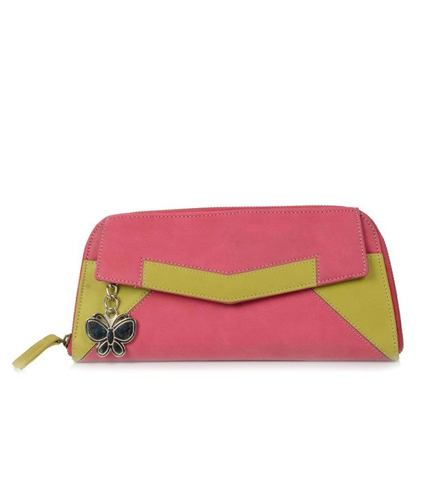 Butterflies Pink & Green Stylish Wallet