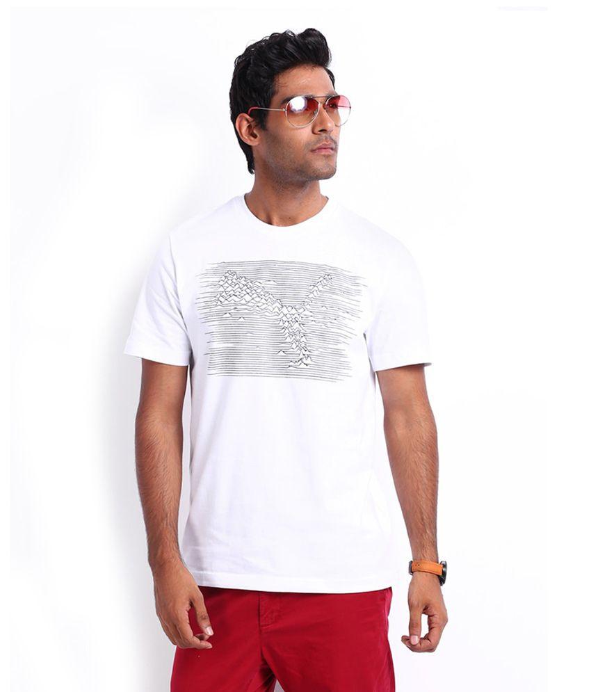 Puma Men White Printed Ecg Cat T Shirt