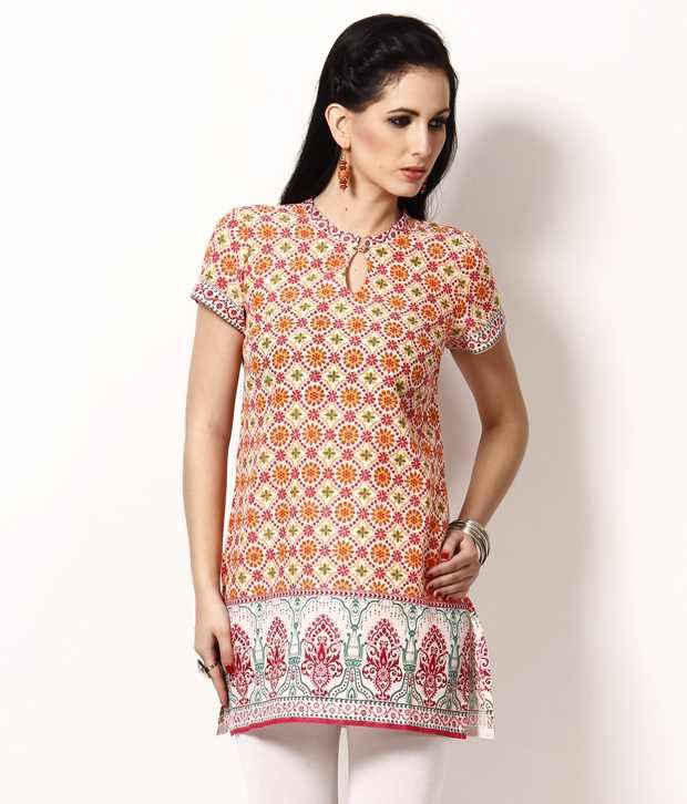 Aurelia Pink Printed Cotton Kurti
