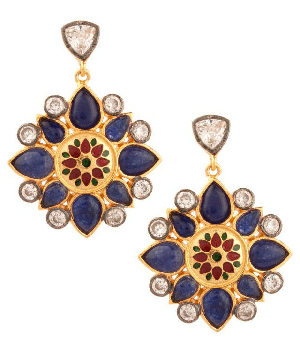 Voylla Alluring Floral Blue Stone Studded Earrings