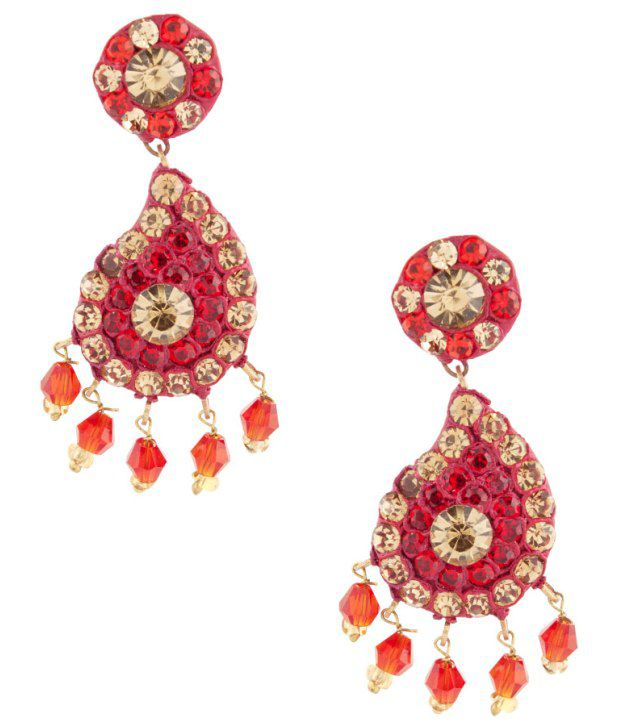 Voylla Alluring Red Lac Earrings
