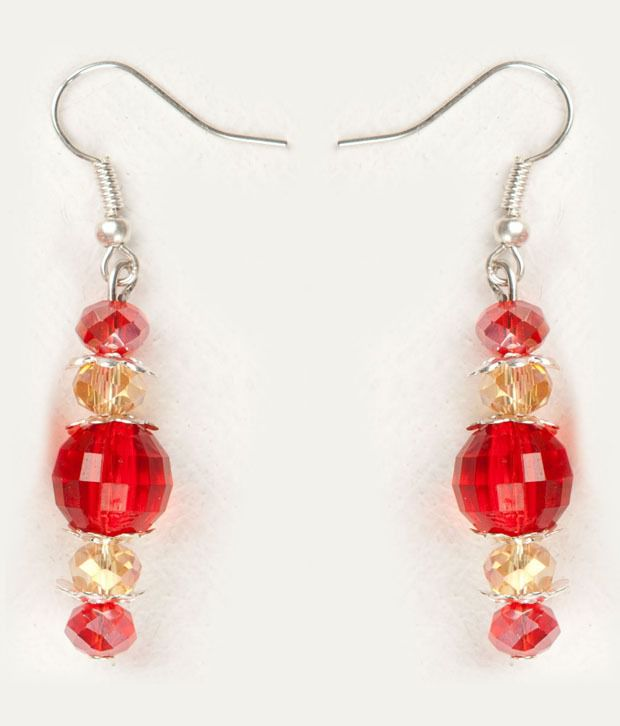 Voylla Attractive Red Crystal Earring