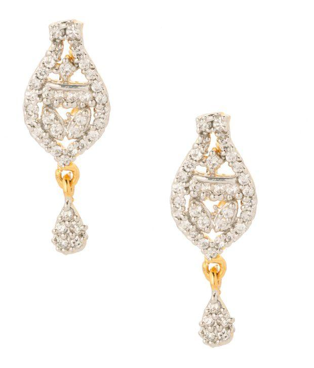 Voylla Charming Tear Drop Style Cz Earrings