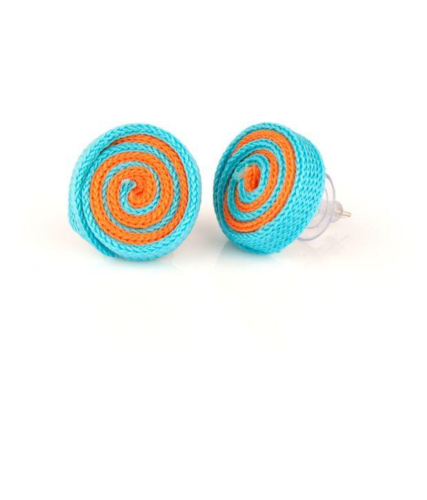 Voylla Chic Blue And Orange Fabric Ear Studs