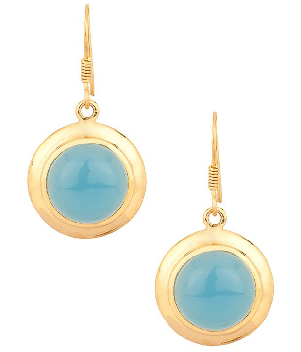Voylla Circular Blue Onyx Earring Pair With Gold Plating
