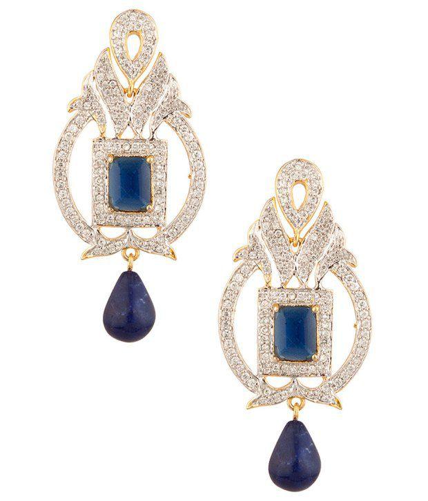Voylla Classy Blue;Cz Stone Encrusted Geometric Earrings