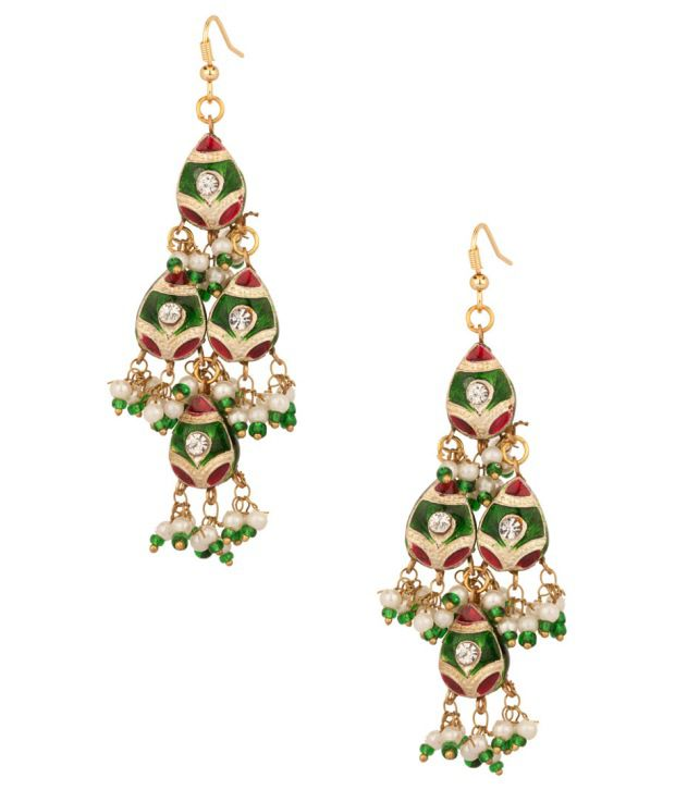 Voylla Colorful Tear Drop Styled Earrings With Meenakari Work