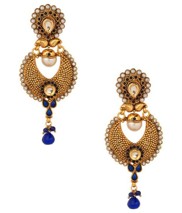 Voylla Dangler Earrings with Perforated Crescent Drop; White; Blue Crystals