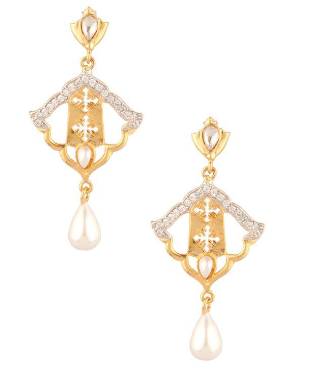 Voylla Elegant Geometric Cz;Pearl Drop Earrings