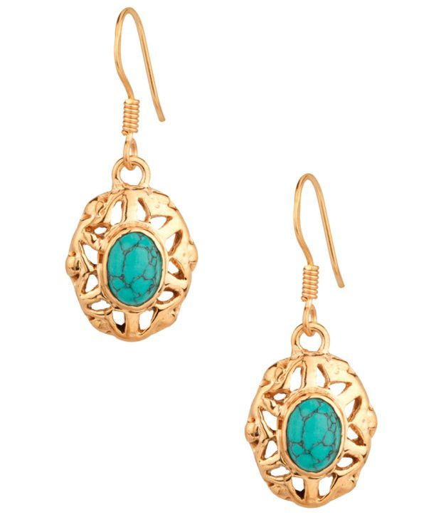 Voylla Floral Style Howlite Turquoise Stone Earrings
