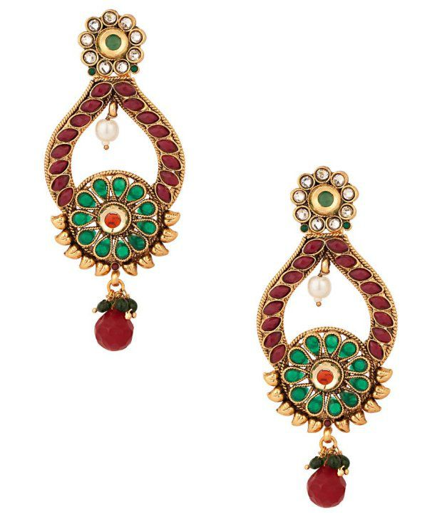 Voylla Gold Plated Earring Set With Floral Design; Pearls; Kundans
