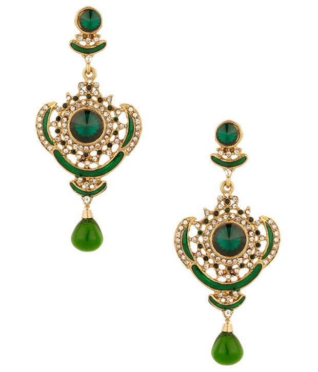 Voylla Gold Plated Green Cz Earrings With Exquisite Meenakari Work