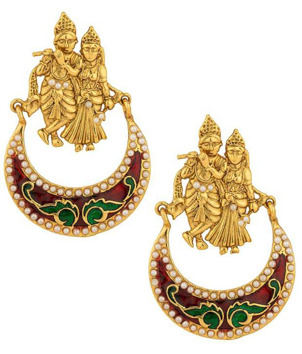 Voylla Gold Plated Radha-Krishna Earrings