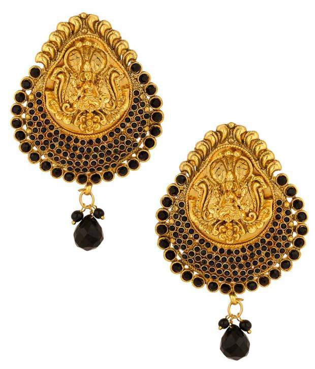 Voylla Gold Plated Temple Design Earring Pair With Black Colored Stones