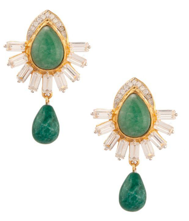 Voylla Graceful Drop Style Green;White Crystal Earrings