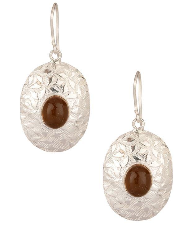 Voylla Gracious Onyx Studded Oval Hook Earrings