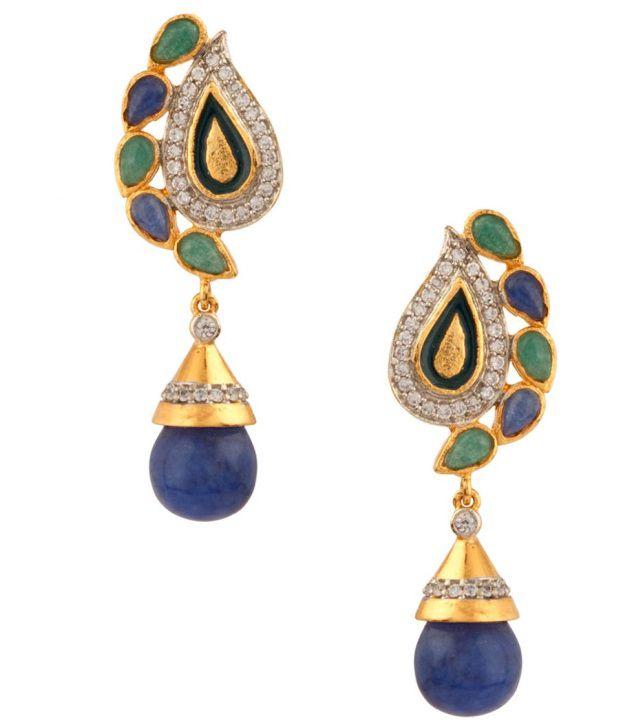Voylla Green Blue Paisley Meenakari;Cz And Drop Earrings