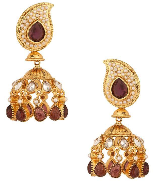 Voylla Jhumki Earrings Decorated with Paisley; Amethyst; Chandelier Design