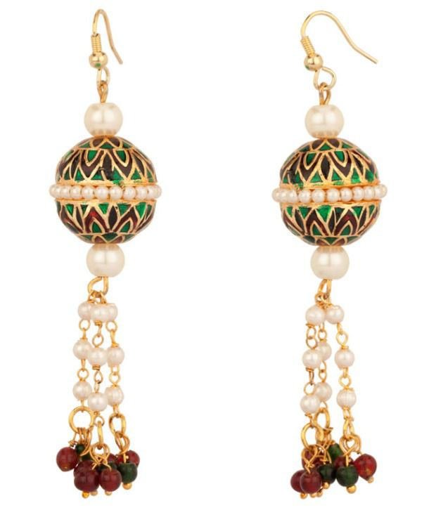 Voylla Pearl Bead Earrings With Flawless Meenakari Work